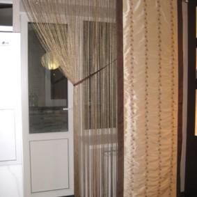 нитяные шторы на кухне идеи интерьера