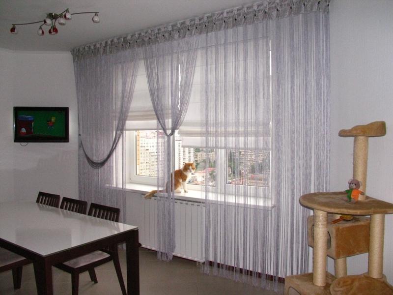нитяные шторы на кухне виды