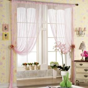 нитяные шторы на кухне дизайн фото