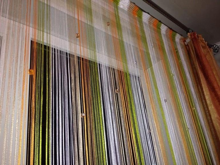 нитяные шторы на кухне дизайн идеи