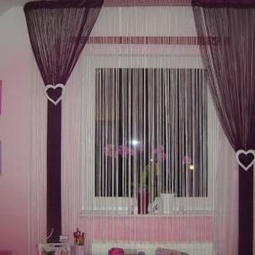 нитяные шторы на кухне фото декор