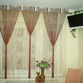 нитяные шторы на кухне фото дизайн