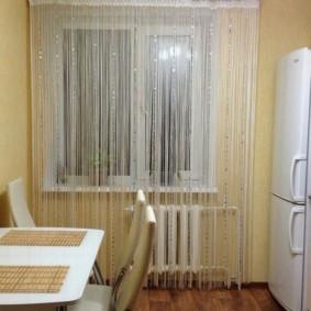 нитяные шторы на кухне фото оформление