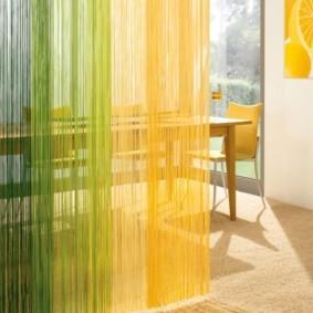 нитяные шторы на кухне фото виды