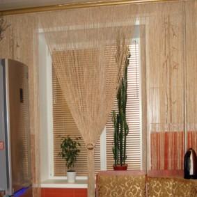 нитяные шторы на кухне идеи декора