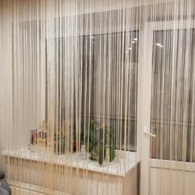 нитяные шторы на кухне идеи оформление