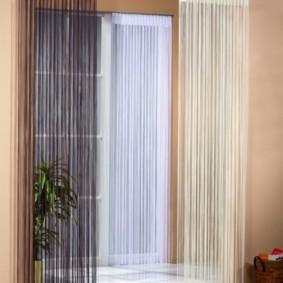 нитяные шторы на кухне виды фото
