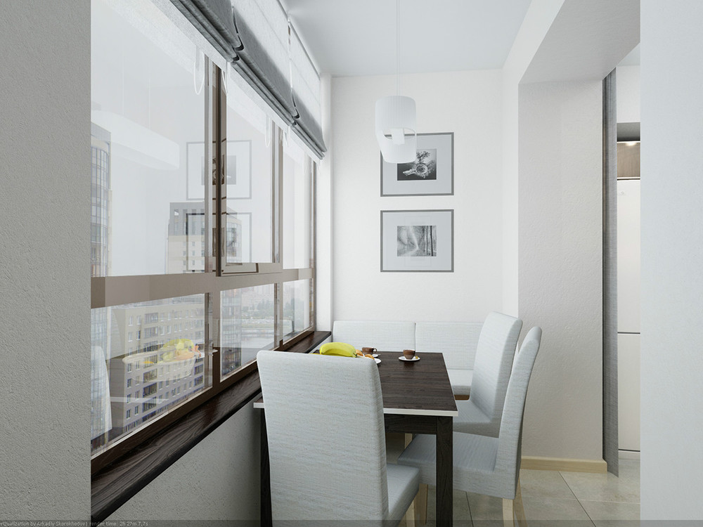 Место для обедов на кухонном балконе