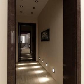 обои для коридора с темными дверями идеи дизайна