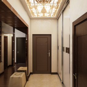 обои для коридора с темными дверями декор