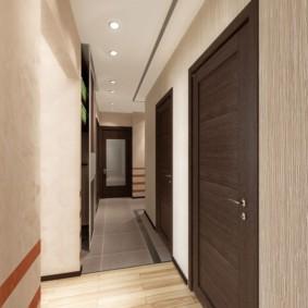 обои для коридора с темными дверями декор фото