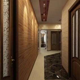 обои для коридора с темными дверями фото декор