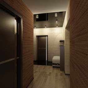 обои для коридора с темными дверями фото декора