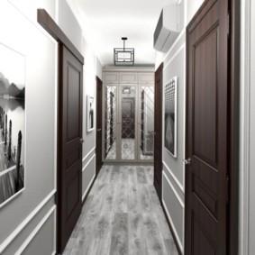 обои для коридора с темными дверями идеи декора