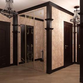 обои для коридора с темными дверями интерьер