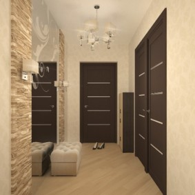 обои для коридора с темными дверями интерьер фото
