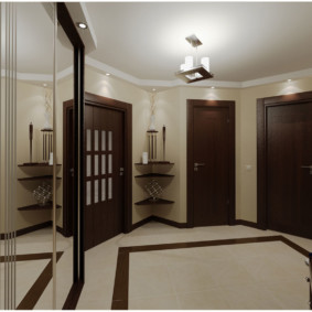 обои для коридора с темными дверями идеи
