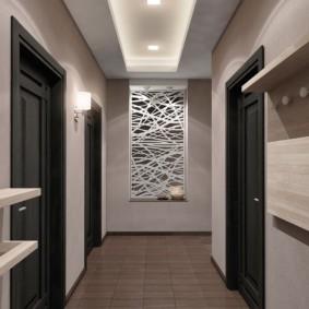 обои для коридора с темными дверями идеи интерьера