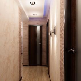 обои для коридора с темными дверями оформление фото