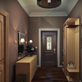 обои для коридора с темными дверями фото оформления