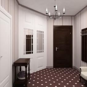 обои для коридора с темными дверями идеи оформление