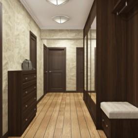 обои для коридора с темными дверями варианты