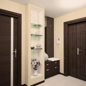 обои для коридора с темными дверями идеи вариантов