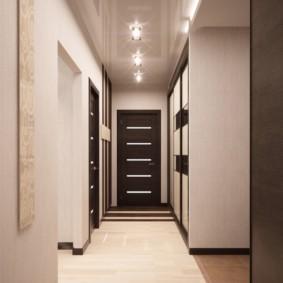 обои для коридора с темными дверями виды идеи