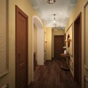 обои для коридора с темными дверями виды декора