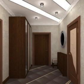 обои для коридора с темными дверями виды оформления