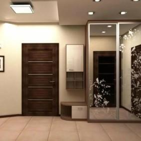 обои для коридора с темными дверями дизайн фото