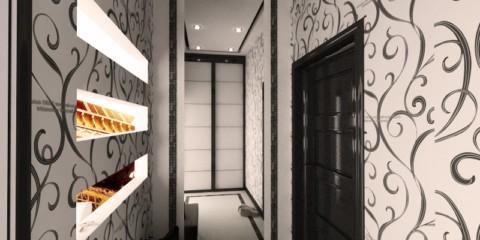 обои для коридора с темными дверями фото дизайна