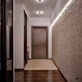 обои для коридора с темными дверями дизайн идеи