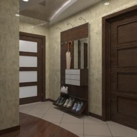 обои для коридора с темными дверями идеи дизайн