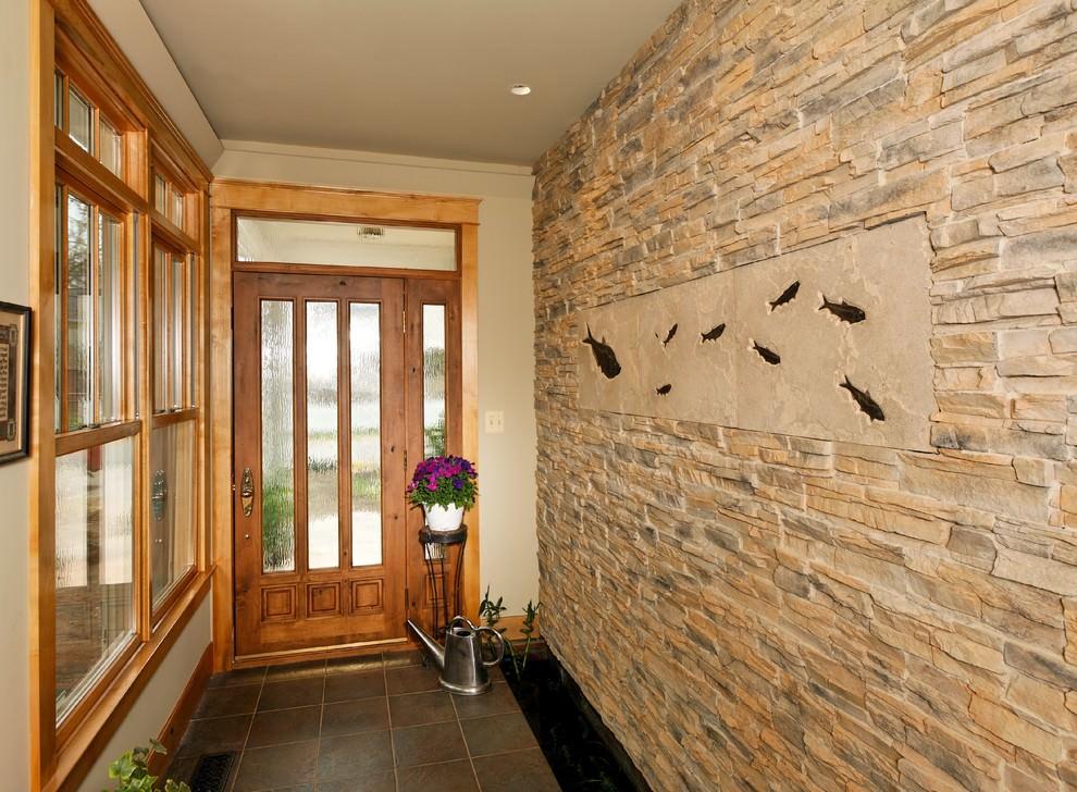отделка стен в коридоре декоративным камнем фото те