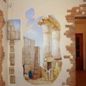 обои и декоративный камень в интерьере прихожей фото вариантов