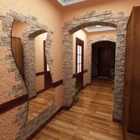обои и декоративный камень в интерьере прихожей виды фото