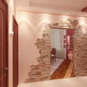 обои и декоративный камень в интерьере прихожей фото обзоры