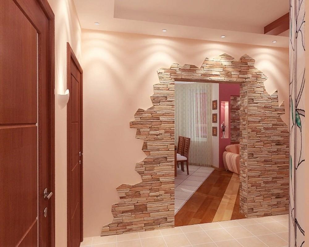 картинки коридора декоративным камнем фото всё
