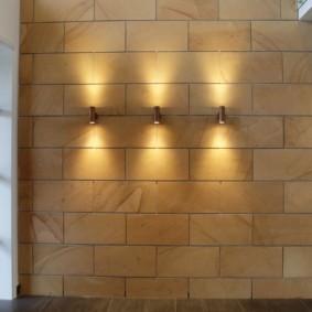 обои и декоративный камень в интерьере прихожей фото идеи