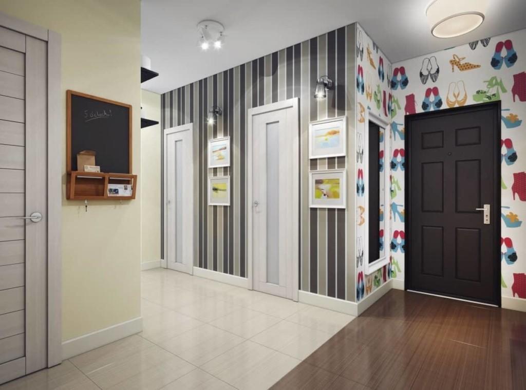 Зонирование холла квартиры напольным покрытием