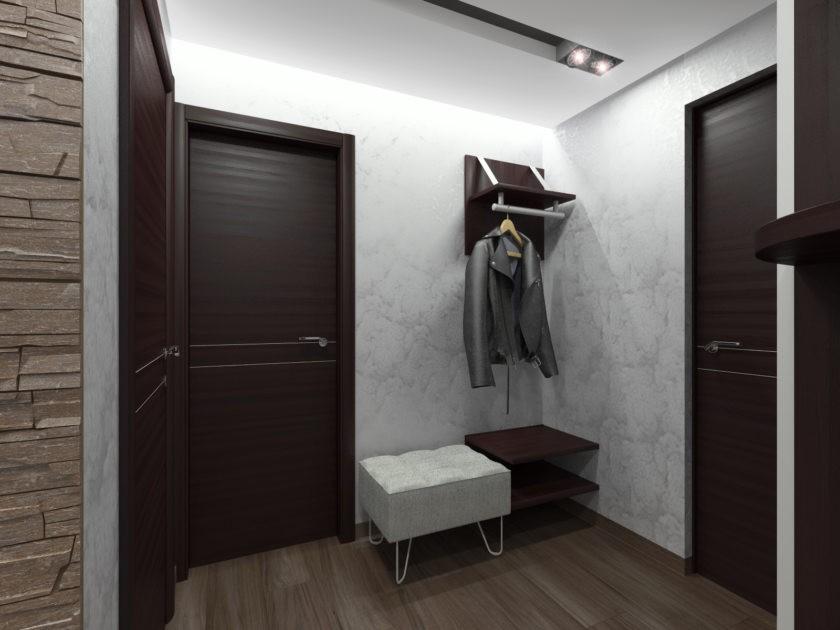 Темно-коричневые двери в прихожей стиля хай-тек