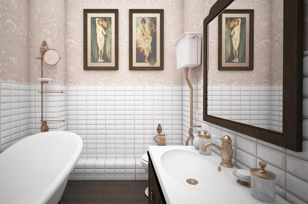 Картины на обоях в совмещенной ванной