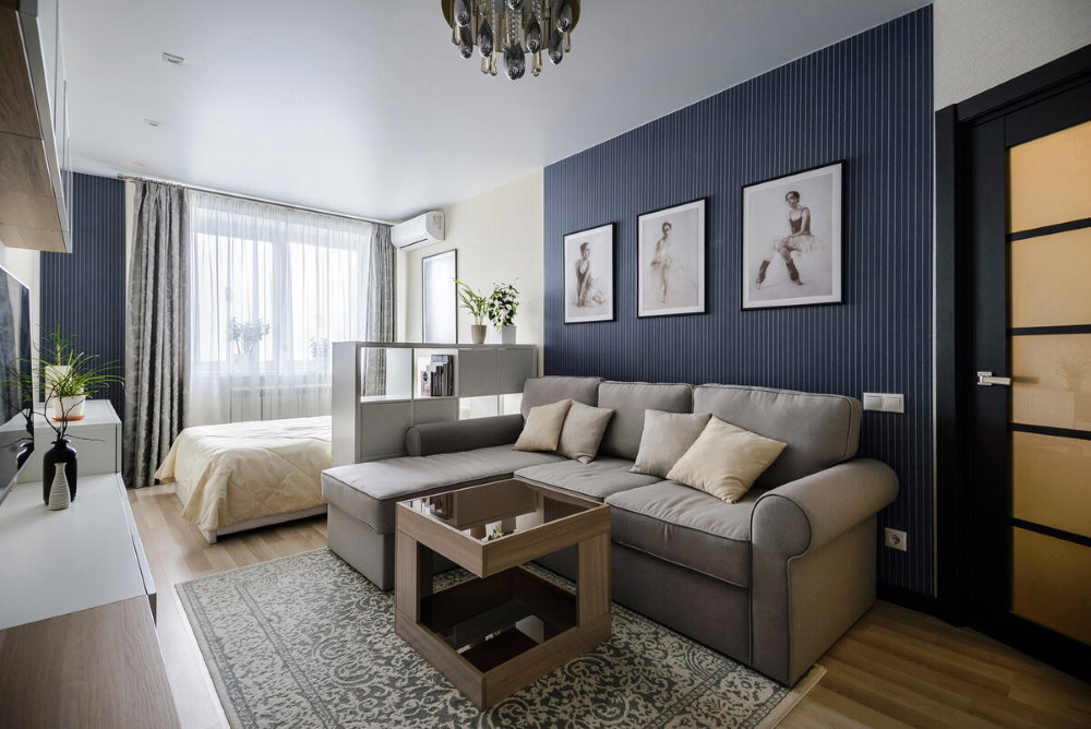 Однушка с кроватью и диваном в панельном доме