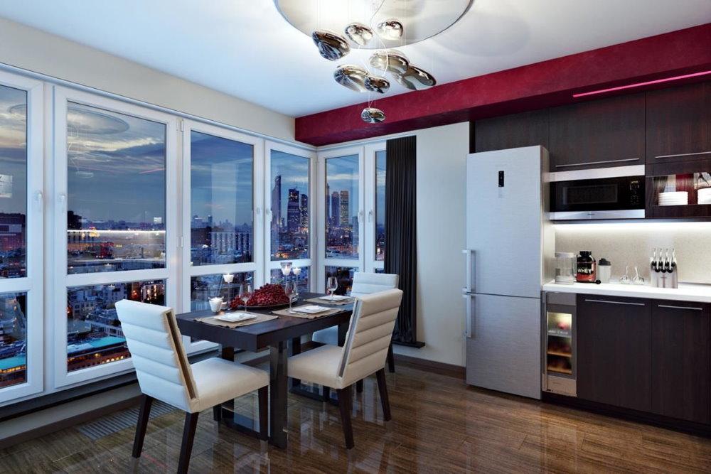 Панорамное окно в квартире студии 26 квадратных метров