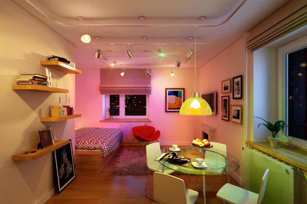 Организация освещения в однокомнатной квартире