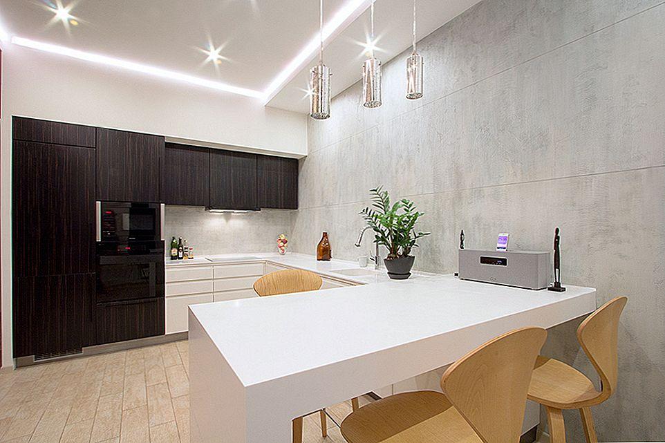 Освещение кухонной зоны в однокомнатной квартире