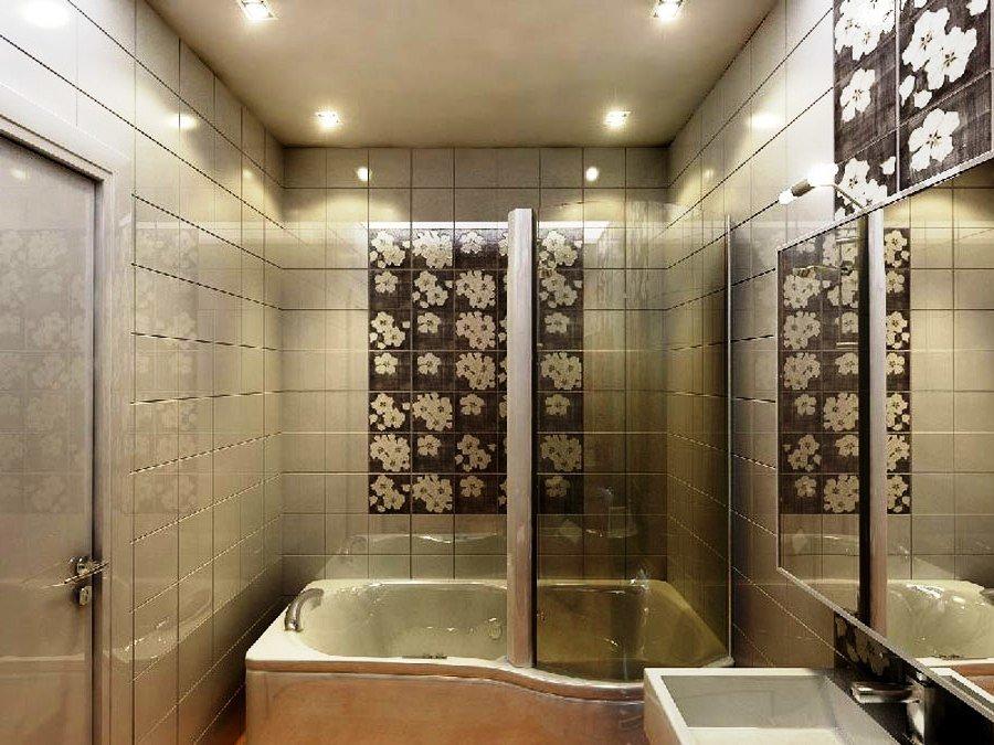 Освещение небольшой ванной в пастельных тонах