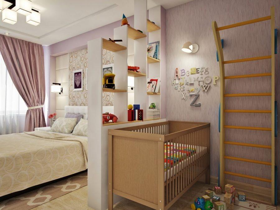 Стеллаж-перегородка в интерьере спальни с детской кроваткой