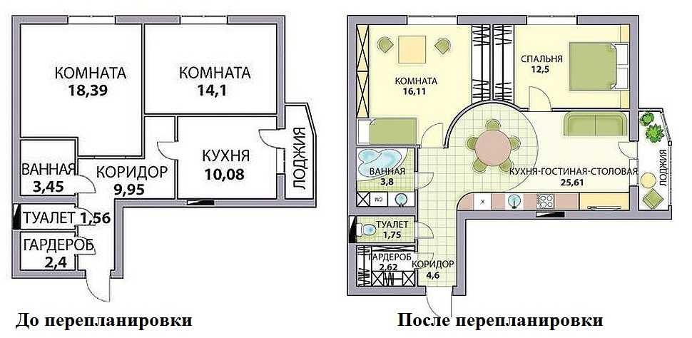 План перепланировки двухкомнатной квартиры в трешку с кухней-гостиной